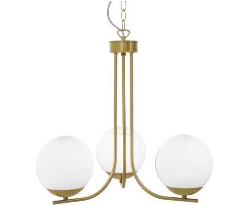 Lampa wisząca Orfeus, Mosiężny, biały opalowy, Ø 44 x W 43 cm