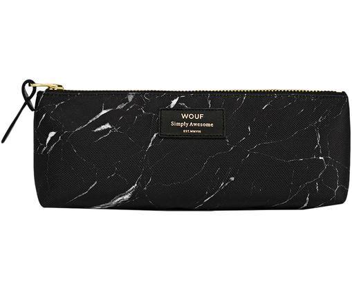 Stifte-Etui Black Marble, Polyester, Leder, Schwarz, 22 x 9 cm