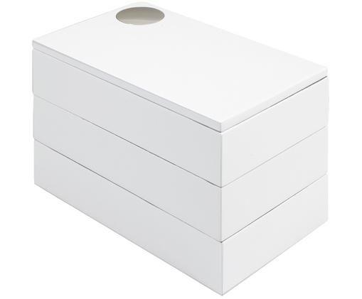 Szkatułka na biżuterię Spindle, Drewno bukowe, lakierowane, Biały, S 19 x W 13 cm