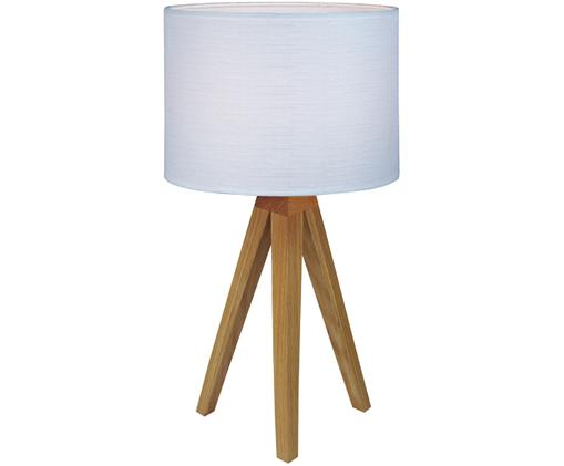 Tischleuchte Kullen aus Eichenholz, Lampenschirm: Polyester, Lampenfuss: Eichenholz Lampenschirm: Weiss, Ø 23 x H 44 cm