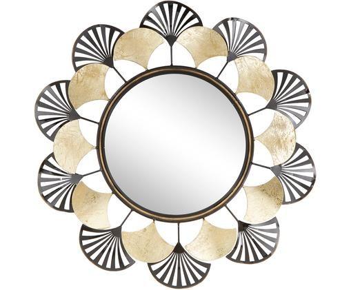Runder Wandspiegel Flower mit Metallrahmen, Metall, beschichtet, Messingfarben, Ø 64 cm