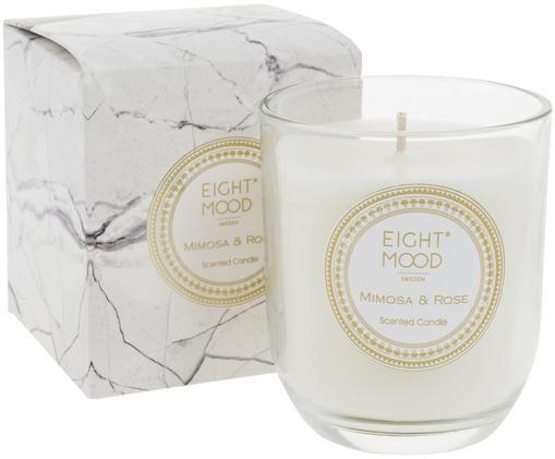 Świeca zapachowa White Marble (mimoza, róża), Pojemnik: transparentny Wosk: biały, Ø 8 x W 9 cm