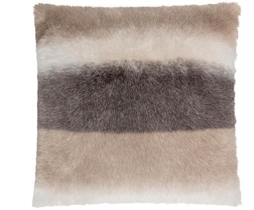 Funda de cojín de piel sintética Skins, Parte delantera: tonos marrones, tonos beige Parte trasera: gris