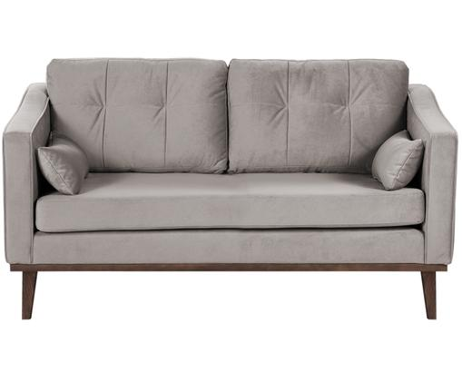 Samt-Sofa Alva (2-Sitzer), Bezug: Samt (Hochwertiger Polyes, Gestell: Massives Kiefernholz, Beine: Massives Buchenholz, gebe, Taupe, B 160 x T 94 cm