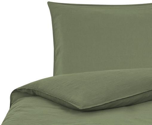 Pościel z lnu Carla, 52% len, 48% bawełna Efekt sprania, Oliwkowy zielony, 135 x 200 cm