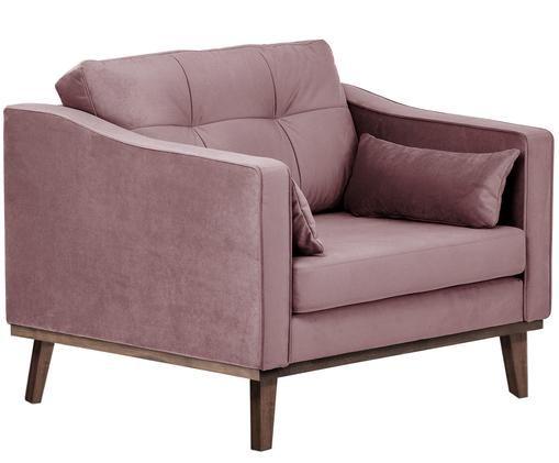 Klassischer Samt-Sessel Alva in Rosa, Bezug: RosaBeine: Buche, dunkel gebeizt