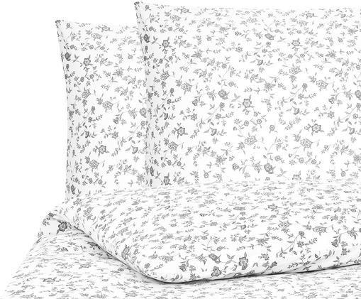 Pościel z bawełny renforcé Anja, Biały, szary, 240 x 220 cm