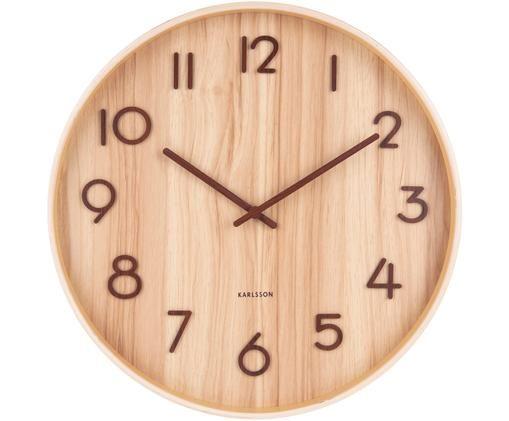 Zegar ścienny Pure, Drewno naturalne, Beżowy, brązowy, Ø 40 cm
