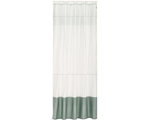 Wąska zasłona prysznicowa z mieszanki bawełny Verdi, Odcienie zielonego, biały, S 150 x D 200 cm