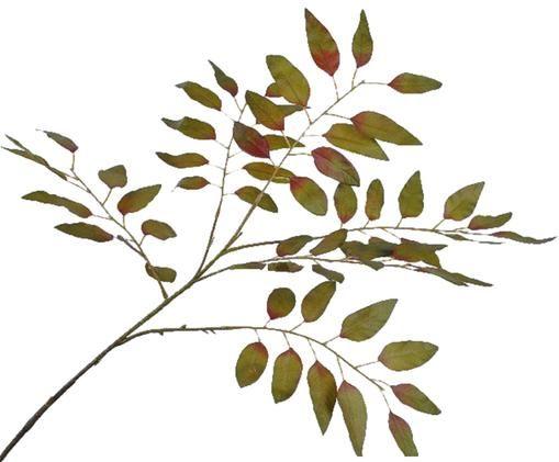 Kunstblume Zweig, Polyester, Kunststoff, Metall, Grün, Rot, L 99 cm
