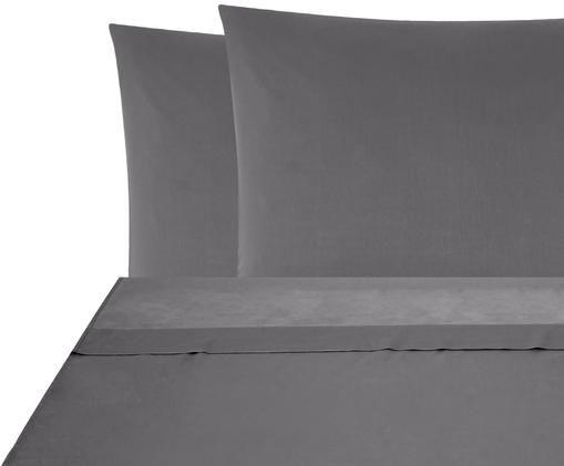 Parure letto in raso di cotone Comfort, Tessuto: raso, Grigio scuro, 180 x 300 cm