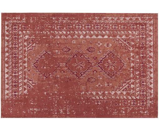 Tappeto vintage in ciniglia Rebel, Vello: 95% cotone, 5% poliestere, Retro: 100% cotone, Rosso ruggine, crema, rosso, Larg. 120 x Lung. 180 cm (taglia S)