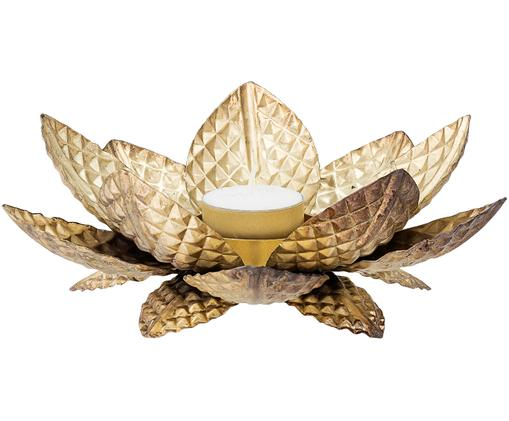 Waxinelichthouder Lotus, Gecoat metaal, Messingkleurig, Ø 20 x H 7 cm