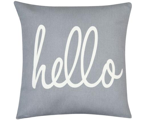 Federa arredo Hello, 100% cotone, tessuto panama, Grigio, crema, Larg. 40 x Lung. 40 cm