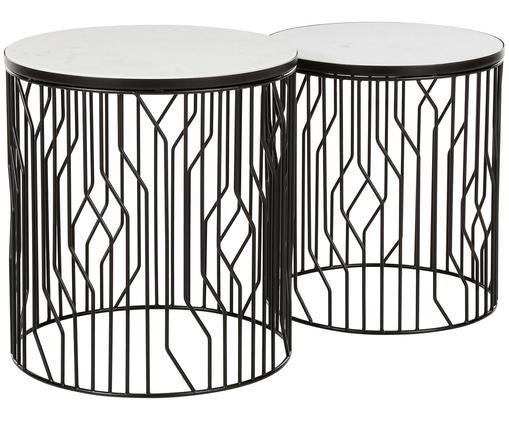 Set tavolini in marmo Emerson, 2 pz., Ripiani: marmo bianco-grigiastro Struttura: nero opaco