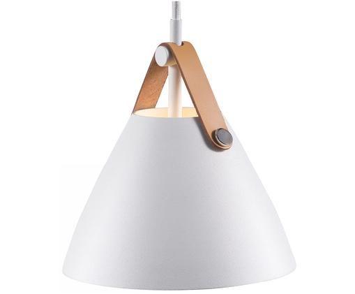 Pendelleuchte Strap mit Lederband, Lampenschirm: Metall, pulverbeschichtet, Baldachin: Kunststoff, Weiß, Ø 16 x H 17 cm