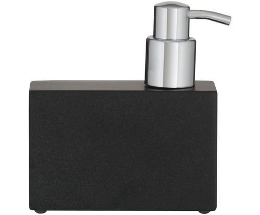 Dozownik do mydła Cura, Czarny, odcienie srebrnego, S 12 x W 13 cm