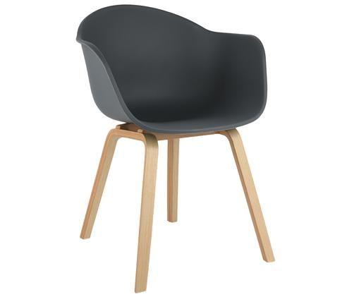 Kunststoff-Armlehnstuhl Claire mit Holzbeinen, Sitzschale: Kunststoff, Beine: Buchenholz, Sitzschale: DunkelgrauBeine: Buchenholz, B 61 x T 58 cm