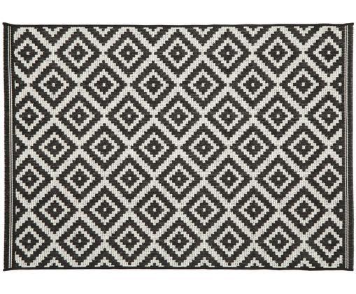 Tapis intérieur-extérieur imprimé géométrique Miami, Blanc, noir