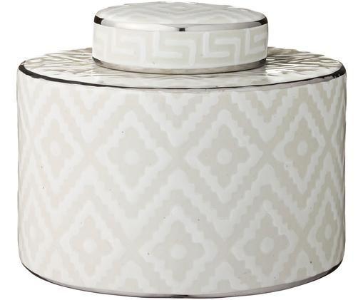 Scatola custodia Camelia, Ceramica, Bianco, beige, Ø 21 x Alt. 17 cm