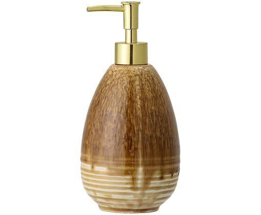 Ręcznie wykonany dozownik do mydła Stenia, Kamionka, Odcienie brązowego, złoty, Ø 10 x W 21 cm