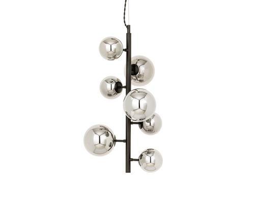 Pendelleuchte Molekyl aus verspiegeltem Glas, Schwarz, Grau, 38 x 58 cm