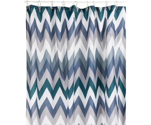 Duschvorhang Hanneke mit Zickzack-Muster, Polyester, digital bedruckt Wasserabweisend, nicht wasserdicht, Blau, Grau, Weiß, Grün, 180 x 200 cm