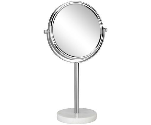 Kosmetikspiegel Copper mit Vergrößerung, Fuß: Marmor, Rahmen: Metall, verchromt, Spiegelfläche: Spiegelglas, Weiß, Silberfarben, Ø 20 x H 34 cm
