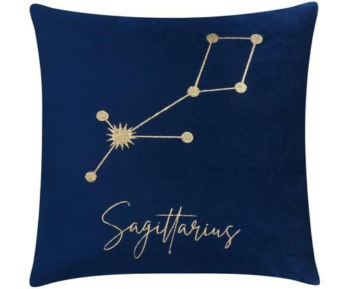 Samt-Kissenhülle Zodiac mit besticktem Sternzeichen (Varianten), Polyestersamt, Dunkelblau, Schütze - Sagittarius