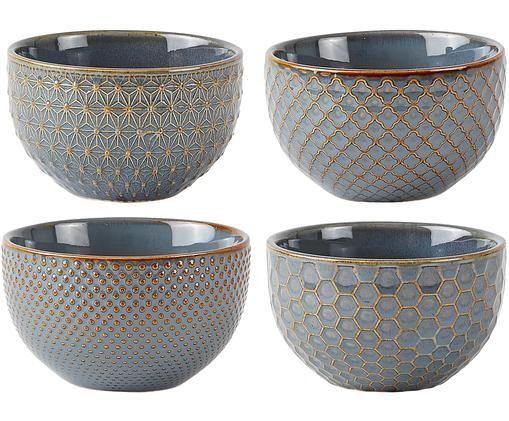 Set 4 ciotole Lara, Gres, Blu grigio, marrone, Ø 9 cm