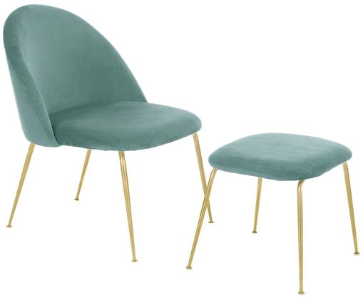 Ensemble lounge en velours Villum, 2 élém., Revêtements: turquoise Pieds: couleur dorée, mat