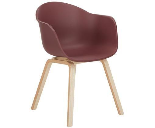 Kunststoff-Armlehnstuhl Claire mit Holzbeinen, Sitzschale: Kunststoff, Beine: Buchenholz, Sitzschale: BurgunderrotBeine: Buchenholz, B 61 x T 58 cm