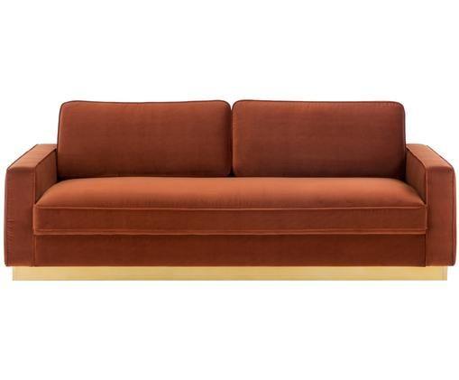 Samt-Sofa Chelsea (3-Sitzer), Rostrot