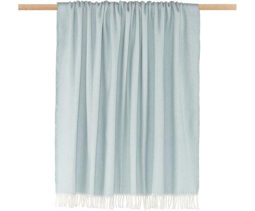 Pled Skyline, 50% bawełna, 50% akryl, Błękitny, złamana biel, S 140 x D 180 cm