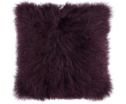 Federa arredo in pelliccia d'agnello a pelo lungo Ella, Retro: 100% poliestere, Rosso scuro, Larg. 40 x Lung. 40 cm