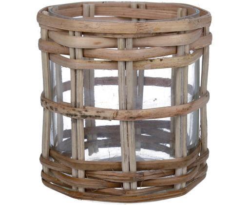 Portavelas Konda, Estructura: bambú, Marrón, Ø 7 x Al 8 cm