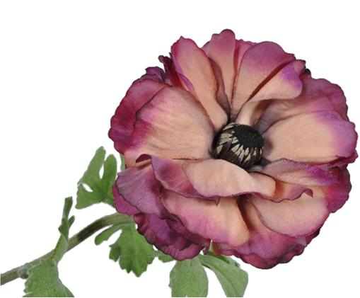 Fiore artificiale ranuncolo Halina, Materiale sintetico, Verde, pink, rosa, Ø 5 x Lung. 54 cm