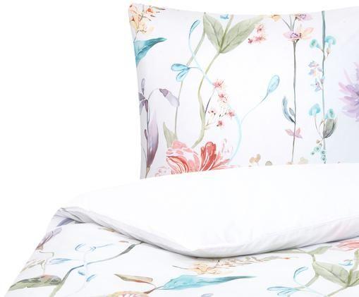 Perkal-Bettwäsche Meadow mit Aquarell Blumenmuster, Webart: Perkal Fadendichte 180 TC, Mehrfarbig, Weiß, 135 x 200 cm
