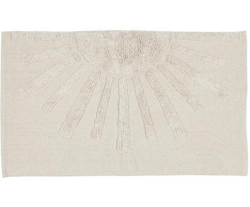 Tappeto in cotone con motivo a rilievo Sun, Cotone Non antiscivolo, Grigio pietra, Larg. 60 x Lung. 90 cm