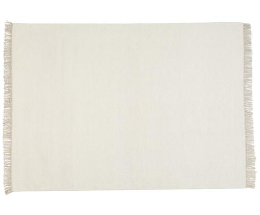 Tappeto in lana tessuto a mano Rainbow, Tappeto: bianco latteo Frange: beige, Larg. 140 x Lung. 200 cm (taglia S)