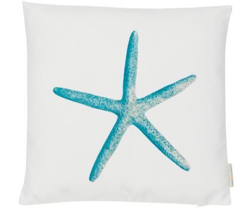 Federa arredo reversibile Starfish, Tela di cotone, Blu, bianco, Larg. 45 x Lung. 45 cm