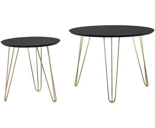 Ensemble de 2 tables d'appoint rondes Round, Plateau: noir. Pieds: couleur dorée