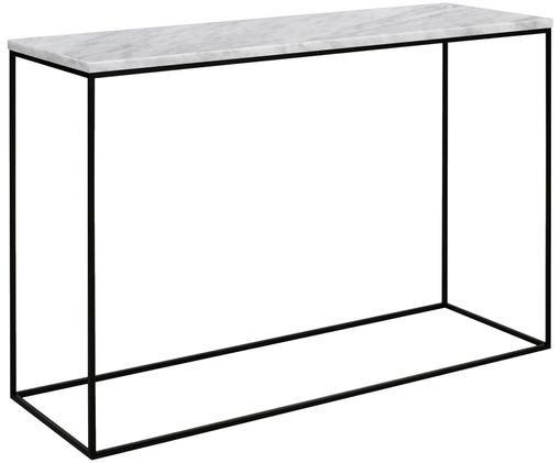 Consolle in marmo Gleam, Piano d'appoggio: marmo, Struttura: metallo verniciato, Bianco, nero, Larg. 120 x Alt. 76 cm