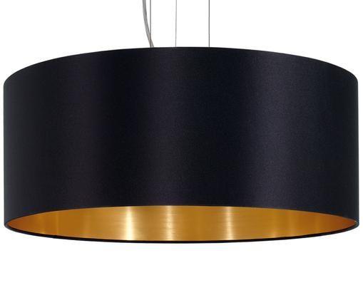Lampada a sospensione Elegant, Paralume esterno: nero Paralume interno: dorato