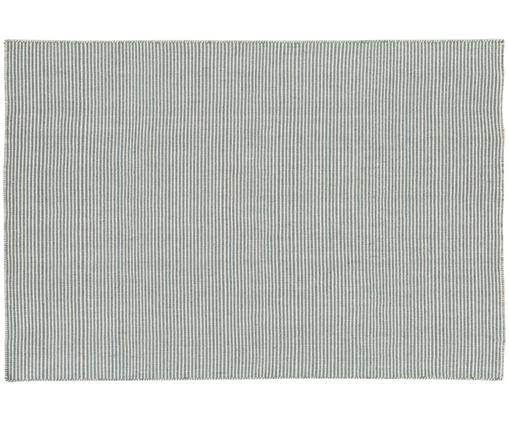Tapis en laine tissé à la main Ajo, Gris-bleu, crème