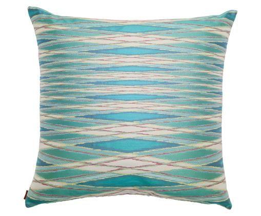 Cuscino in jacquard Vulcano, Tessuto: Jacquard, Toni blu, beige, multicolore, Larg. 60 x Lung. 60 cm