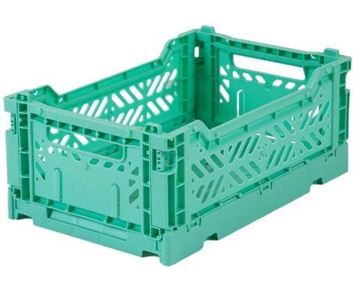 Cesta piccola pieghevole ed impilabile Mint, Materiale sintetico riciclato, Verde menta, Larg. 27 x Alt. 11 cm