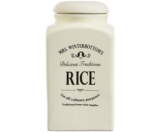 Aufbewahrungsdose Mrs Winterbottoms Rice, Steingut, Creme, Schwarz, Ø 11 x H 21 cm