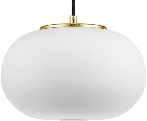 Lámpara de techo de vidrio opalino Dosei, Pantalla: vidrio opalino, Cable: cubierto en tela, Blanco, negro, dorado, Ø 25 x Al 173 cm