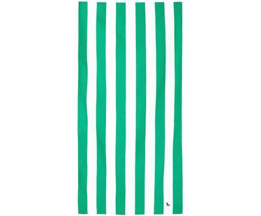 Ręcznik plażowy Cabana, Mikrofibra (80% poliester, 20% poliamid), Zielony, biały, S 90 x D 200 cm